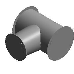 圆形 T 形三通 - 锥形 - 斜接 - 法兰